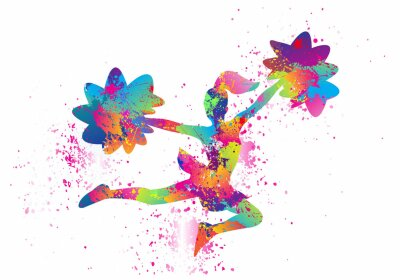 Obraz Popular Cheerleader Logo Design. Colorful Sports Background. Dancing girl splash paint. Icon, Symbol, Silhouette, Exercises, Healthcare. Vector illustration.