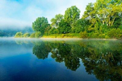 Obraz Poranna mgła nad rzeką w słońcu