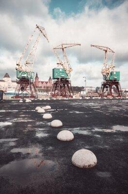 Port cranes on Szczecin Lasztownia island, color toning applied, Poland.