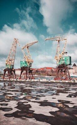 Port cranes on Szczecin Lasztownia island, Poland.