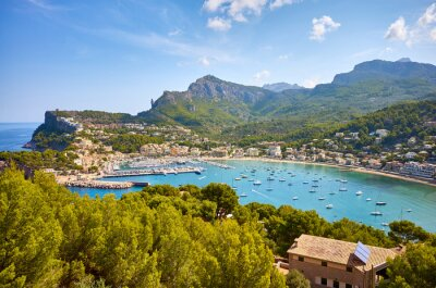 Port de Soller on a sunny day, Mallorca, Spain.