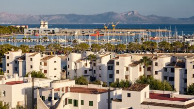 Port of Alcudia panorama at sunset, Mallorca., Spain.