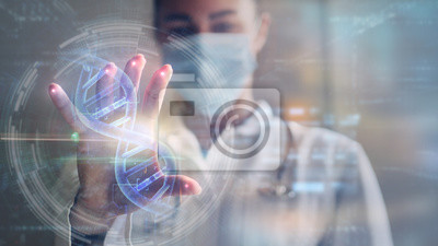 Obraz Portrait of a woman doctor is using a futuristic latest innovative technology for viewing samples of DNA with augmented reality holograms in a laboratory.