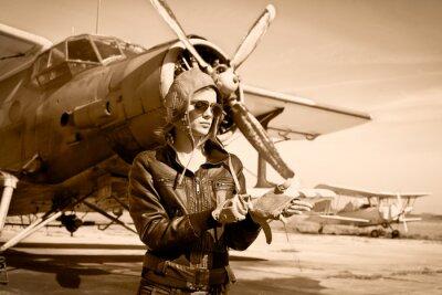 Obraz Portret pięknej kobiety pilota