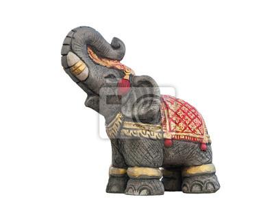 Posąg słonia na białym tle