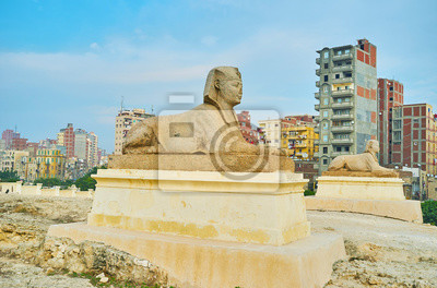 Posągi w Serapeum, Aleksandria, Egipt