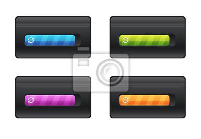 Postępu bar i ładowanie różni kolory na czarnej tło wektorowej kartotece.