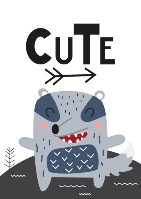 Obraz Poster for nursery scandi design with cute badger in Scandinavian style. Vector Illustration. Kids illustration for baby clothes, greeting card, wrapping paper. Lettering Cute.