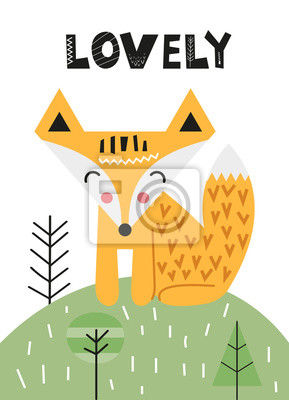Poster for nursery scandi design with cute fox in Scandinavian style. Vector Illustration. Kids illustration for baby clothes, greeting card, wrapper.