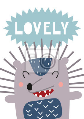 Poster for nursery scandi design with cute hedgehog in Scandinavian style. Vector Illustration. Kids illustration for baby clothes, greeting card. Lettering Lovely.