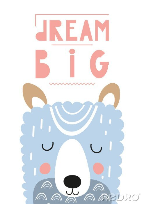 Obraz Poster for nursery scandi design with cute llama in Scandinavian style. Vector Illustration. Kids illustration for baby clothes, greeting card, wrapping paper. Lettering Big dream.