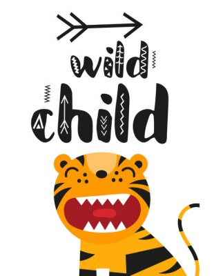 Poster for nursery scandi design with cute roar tiger and text Wild child in Scandinavian style. Vector Illustration. Kids illustration for baby clothes, greeting card, wrapper.