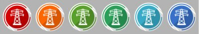 Obraz Power, energy tower icon set, vector illustration in 6 colors options for webdesign and mobile applications, flat design symbol
