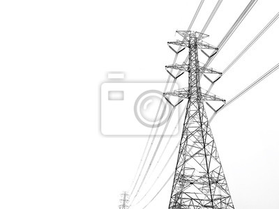 Obraz Power transmission tower with white background
