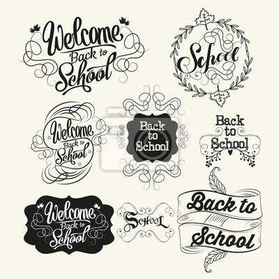 Powrót do etykiet szkolnych. Litery i kaligrafii projekt
