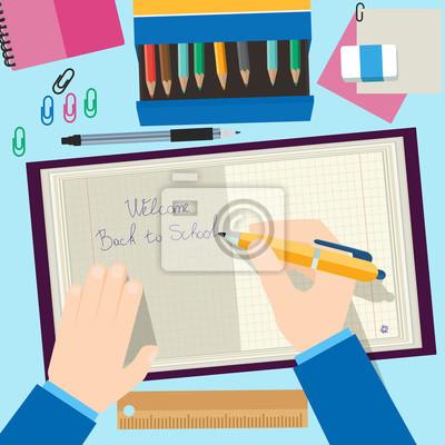 Powrót do koncepcji szkoły projektowania. Tło z ołówki, książki i