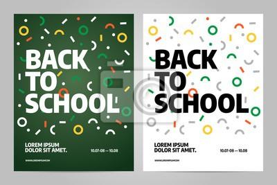Powrót do szkoły Broszura projektu szablonu wektora. Ulotki przedstawiają magazyn biznesowy i minimalny plakat.