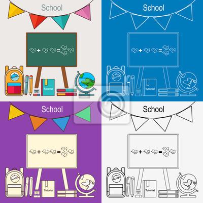 Powrót do szkoły ilustracji wektorowych. Chalkboard, plecak, długopis.