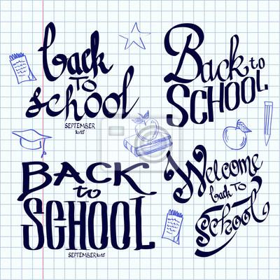 Obraz Powrót do szkoły liternictwa i kaligrafii na arkuszu ćwiczeń