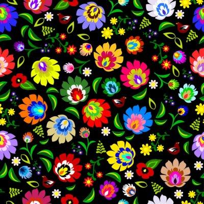 Obraz Powtarzalnych ludowa tradycyjna polska wektor wzór kwiatowy