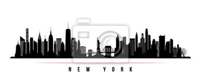 Obraz Poziome transparent panoramę Nowego Jorku. Czarno-biała sylwetka miasta Nowy Jork, USA. Szablon wektor dla swojego projektu.