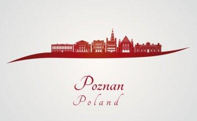 Obraz Poznan skyline in red