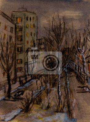 Obraz Późnym wieczorem w mieście