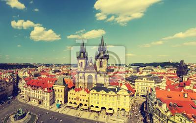 Praga, Republika Czeska, w stylu vintage, retro.