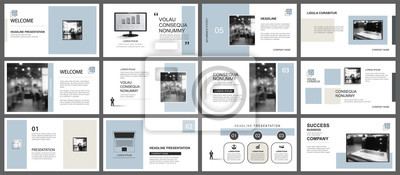 Obraz Presentation and slide layout template. Design blue and brown pastel geometric background. Use for business annual report, flyer, marketing, leaflet, advertising, brochure, modern style.