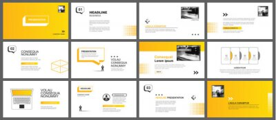 Obraz Presentation and slide layout template. Yellow geometric modern design background. Use for business annual report, flyer, marketing, leaflet, advertising, brochure, modern style.