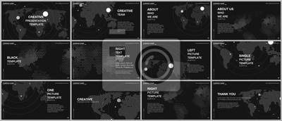 Obraz Presentation design vector templates, multipurpose template for presentation slide, flyer, brochure cover design, report presentation. World map concept backgrounds with world map infographic elements