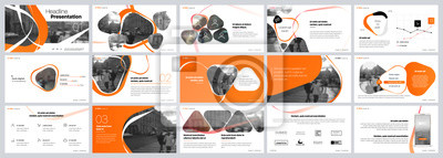 Obraz Presentation template. Orange elements for slide presentations on a white background. Use also as a flyer, brochure, corporate report, marketing, advertising, annual report, banner. Vector