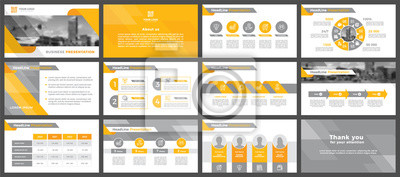 Obraz Presentation templates, corporate. Elements of infographics for presentation templates. Annual report, book cover, brochure, layout, leaflet layout template design.