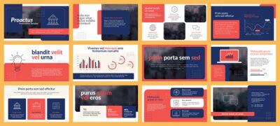 Obraz Presentations templates elements and infographics in vector design. Business template for presentation slide, corporate report, marketing, flyer and leaflet,  advertising, annual report and banner.