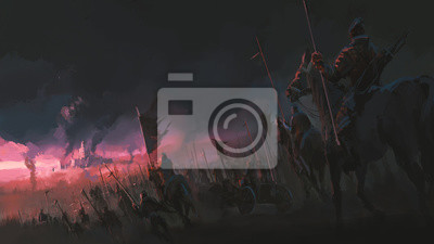 Obraz Presja armii, starożytne sceny wojenne, malarstwo cyfrowe.