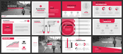Obraz Prezentacje biznesowe szablony slajdów z elementów infograficznych. Może służyć do prezentacji, ulotki i ulotki, broszury, raportu firmowego, marketingu, reklamy, raportu rocznego, bannera, broszury.