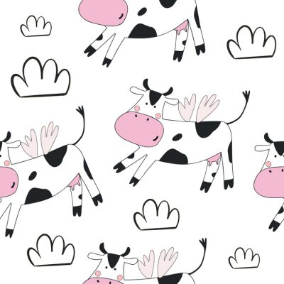 print with cute cow