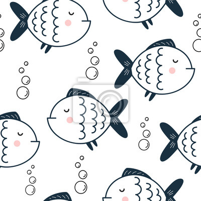 print with funny fish