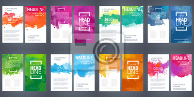 Obraz PrintBrochure template layout, flyer cover design with watercolor background.