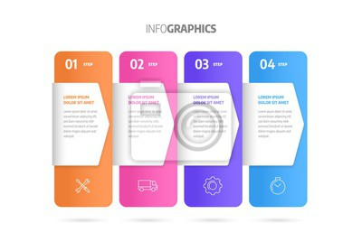 Process chart. Business data. Abstract element of chart, graph, diagram with 4 steps, options, parts, processes. Infographics design vector and marketing icons.