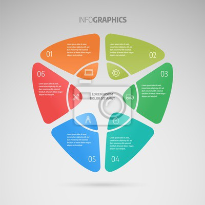 Process chart. Business data. Abstract element of chart, graph, diagram with 6 options, parts, processes. Infographics design vector and marketing icons.