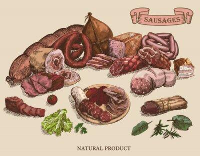 Obraz produkty mięsne