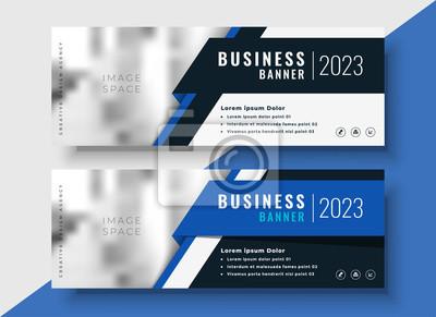 Obraz profesjonalne niebieskie banery biznesowe z miejsca na obraz