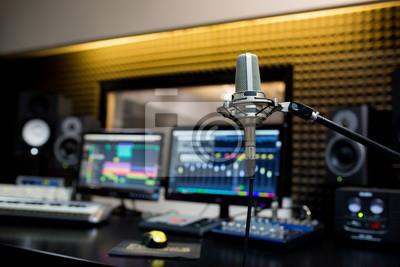 Obraz Profesjonalny mikrofon w studio nagrań.