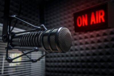 Obraz Professional microphone in radio station studio on air