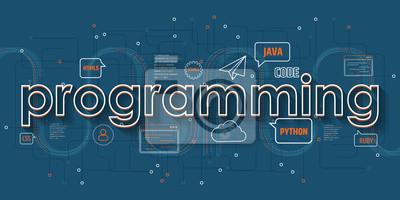 Programming world flat concept