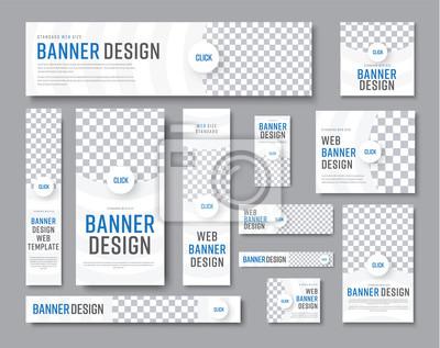 Obraz Projekt białych banerów o standardowych rozmiarach z miejscem na zdjęcie