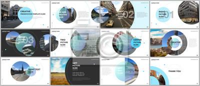 Obraz Projekt minimalnych prezentacji, szablony wektorowe portfolio z elementami okręgu na białym tle. Uniwersalny szablon do prezentacji slajdów, ulotki ulotki, okładki broszury, raport, marketing.