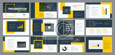 Obraz projekt szablonu prezentacji biznesowych i projektowanie układu strony dla broszury, raportu rocznego i profilu firmy, z elementami graficznymi informacji
