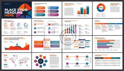 Obraz Projekt szablonu prezentacji. Wykresy danych biznesowych. Wektorowe wykresy finansowe i marketingowe.